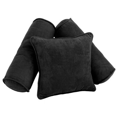 Karl 3 Piece Microsuede Pillow Set Color: Black