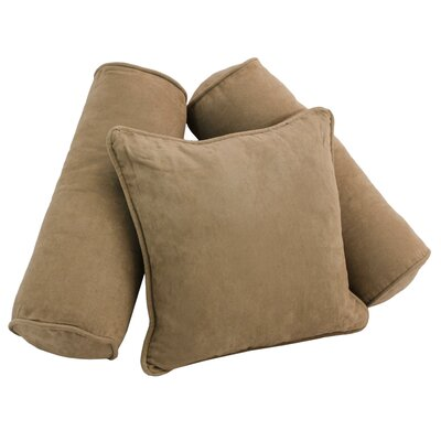 3 Piece Microsuede Pillow Set Color: Java