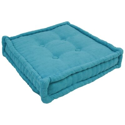 20 Tufted Micro Suede Floor Pillow Color: Aqua Blue