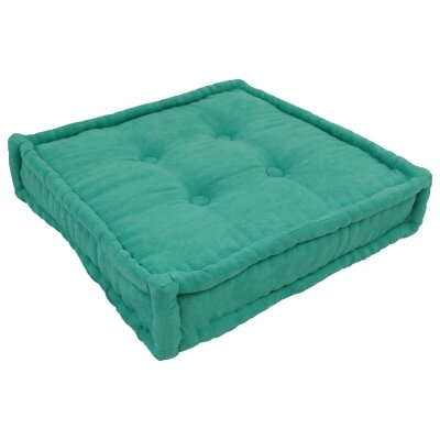 20 Tufted Micro Suede Floor Pillow Color: Emerald