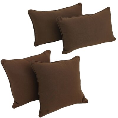 4 Piece Twill Pillow Set Color: Navy