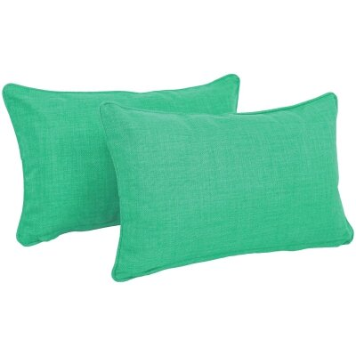 Solid Outdoor Lumbar Pillow Color: Emerald