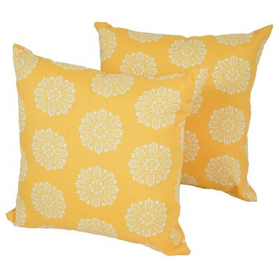 Designer Outdoor Throw Pillow Color: Yellow