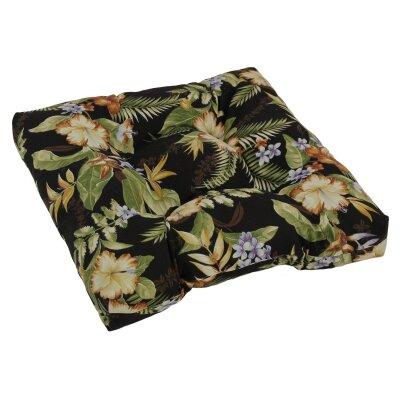 Designer Patio Rocking Chair Cushion Fabric: Black Green Floral