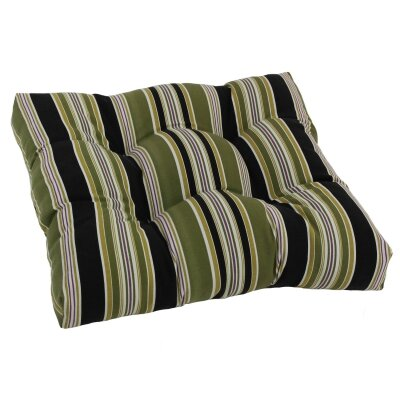 Designer Patio Rocking Chair Cushion Fabric: Olive Stripe