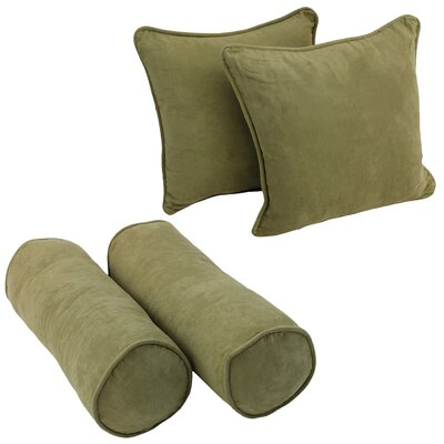 4 Piece Microsuede Throw/Bolster Pillow Set Fabric: Sage