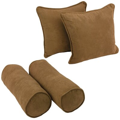 4 Piece Microsuede Throw/Bolster Pillow Set Fabric: Saddle Brown