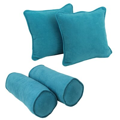 4 Piece Microsuede Throw/Bolster Pillow Set Fabric: Aqua Blue