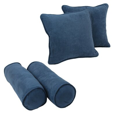 4 Piece Microsuede Throw/Bolster Pillow Set Fabric: Indigo