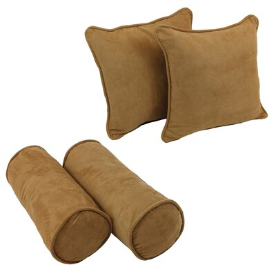 4 Piece Microsuede Throw/Bolster Pillow Set Fabric: Camel