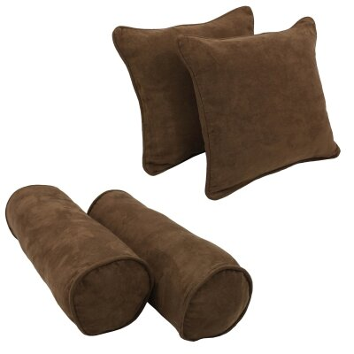 4 Piece Microsuede Throw/Bolster Pillow Set Fabric: Chocolate
