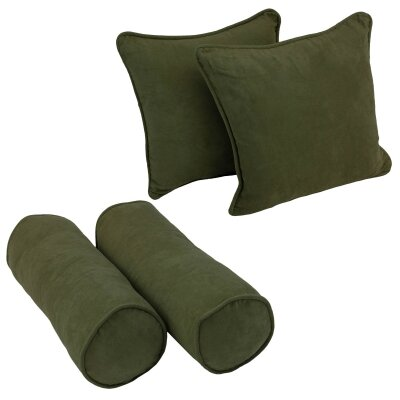 4 Piece Microsuede Throw/Bolster Pillow Set Fabric: Hunter Green