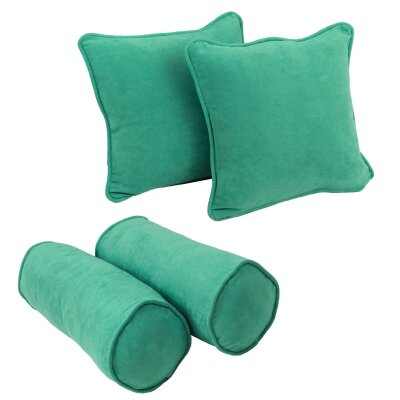 4 Piece Microsuede Throw/Bolster Pillow Set Fabric: Emerald