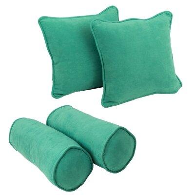 4 Piece Microsuede Throw/Bolster Pillow Set Fabric: Emerald
