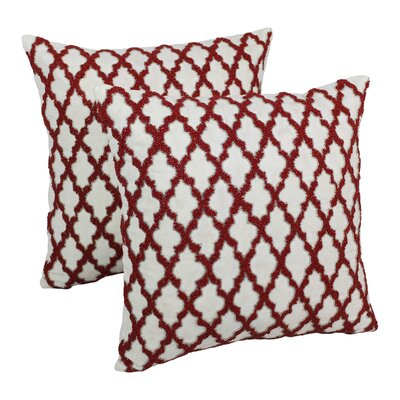 Moroccan Patterned Cotton Throw Pillow Color: Red / Ivory