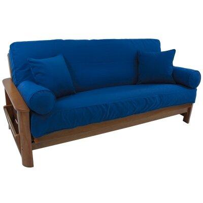 Box Cushion Futon Slipcover Set Fabric: Royal Blue