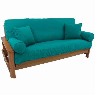 Box Cushion Futon Slipcover Set Fabric: Aqua Blue
