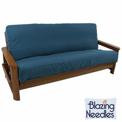 Solid Twill Box Cushion Futon Slipcover Fabric: Aqua Blue