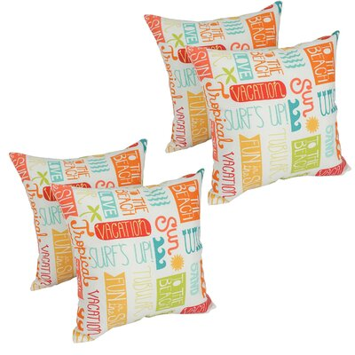 Gilroy Summer Fun Outdoor Throw Pillow Set Of: Set of 4