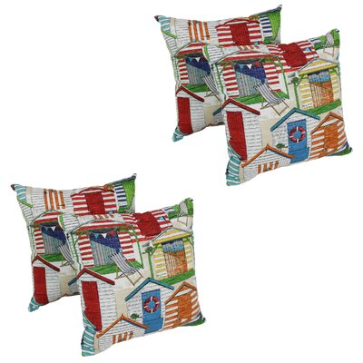 Vanderveldt Beach Huts Cabana Indoor/Outdoor Throw Pillow