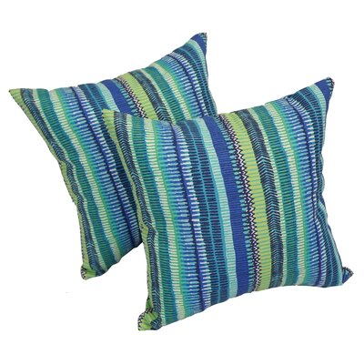 Batchtown Indoor/Outdoor Throw Pillow Color: Blue/Green, Set Of: Set of 4