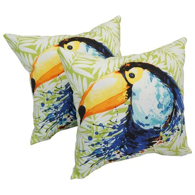 Seydou Toucan Indoor/Outdoor Leaf Throw Pillows Set Of: Set of 4