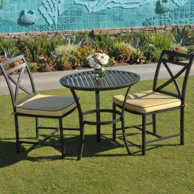 San Michele 3 Piece Bistro Set with Cushion Fabric: Bravada Limelight