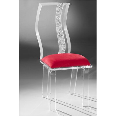Wave Acrylic Side Chair Upholstery: Red