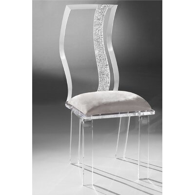 Wave Acrylic Side Chair Upholstery: Silver