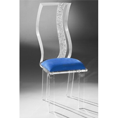 Wave Acrylic Side Chair Upholstery: Cobalt