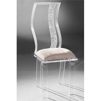 Wave Acrylic Side Chair Upholstery: Creme