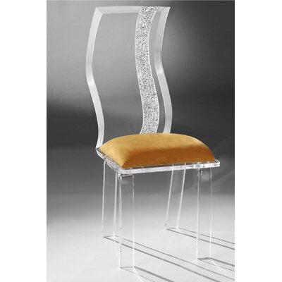 Wave Acrylic Side Chair Upholstery: Orange