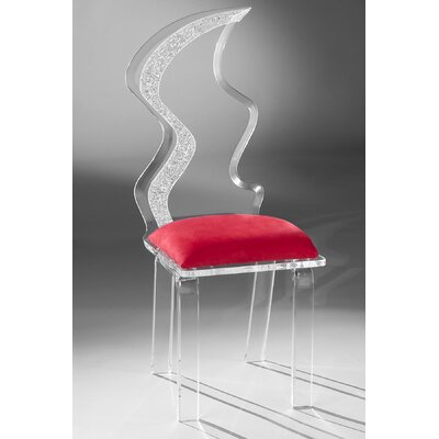 Zig Zag Acrylic Side Chair Upholstery: Red