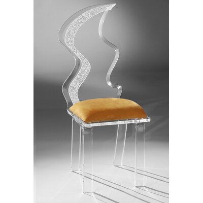 Zig Zag Acrylic Side Chair Upholstery: Orange
