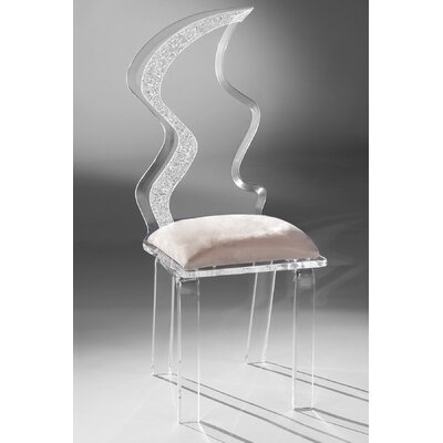 Zig Zag Acrylic Side Chair Upholstery: Creme