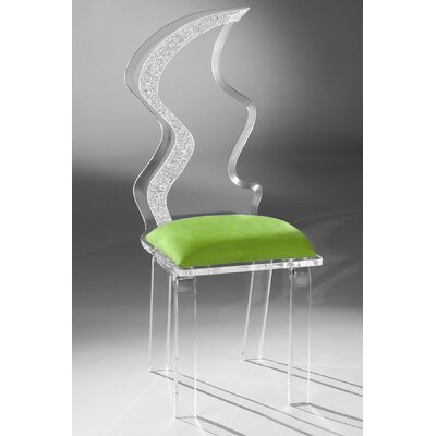 Zig Zag Acrylic Side Chair Upholstery: Lime