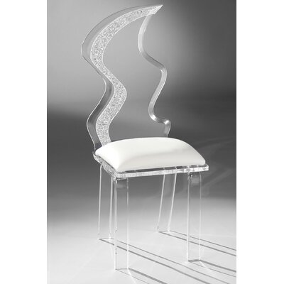 Zig Zag Acrylic Side Chair Upholstery: White