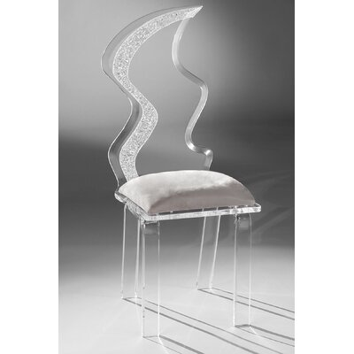 Zig Zag Acrylic Side Chair Upholstery: Silver
