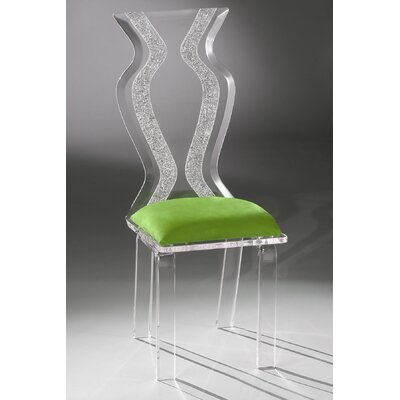 Monaco Acrylic Side Chair Upholstery: Lime Microfibre