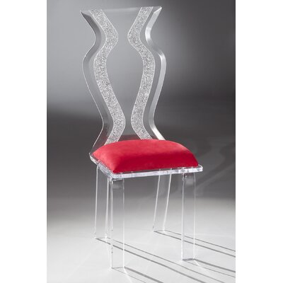 Monaco Acrylic Side Chair Upholstery: Red Microfibre