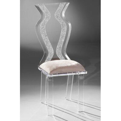 Monaco Acrylic Side Chair Upholstery: Creme Microfibre