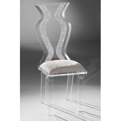 Monaco Acrylic Side Chair Upholstery: Silver Microfibre