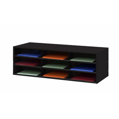 Prime Cold Rolled 9 Opening Horizontal Literature Rack Color: Black