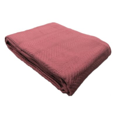Egyptian Quality Cotton Herringbone Throw Blanket Size: Full/Queen, Color: Burgundy