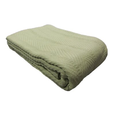 Egyptian Quality Cotton Herringbone Throw Blanket Color: Sage, Size: Twin