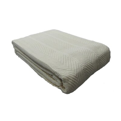 Egyptian Quality Cotton Herringbone Throw Blanket Size: Full/Queen, Color: Ivory