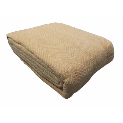 Egyptian Quality Cotton Herringbone Throw Blanket Size: Twin, Color: Camel