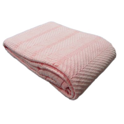 Egyptian Quality Cotton Herringbone Throw Blanket Color: Blush, Size: Twin