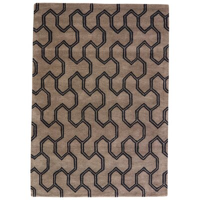 Heitman Hand-Tufted Taupe/Black Area Rug Rug Size: 5 x 8