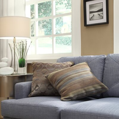 Novella Stripe Print Throw Pillow Color: Mocha Tonal